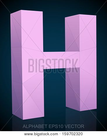Abstract Pink 3D polygonal uppercase letter H with reflection. Low poly alphabet collection. EPS 10 vector illustration.