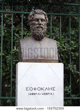 ATHENS, GREECE - MARCH 10 2016: Sophocles bronze statue in front of the national garden in Athens Greece