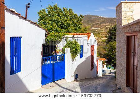 Street In The Cypriot Village. Omodos, Cyprus.