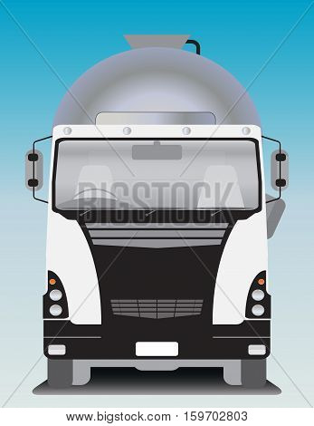 Front view of Cement Mixer truck Vector Illustration