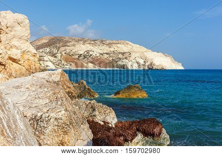 View of the mountains and sea near the place of birth of Aphrodite. Cyprus.