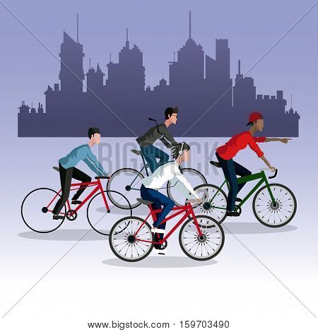 people young riding bycicle ccity background vector illustration eps 10