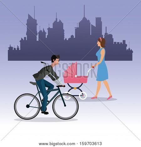 woman walking pram and boy ride bike city background vector illustration eps 10