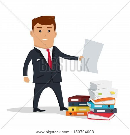 Male character with sheet of paper vector. Flat design. Man in business suit holding paper sheet near stack of documents and colorful binders. Office, paper work concept. Isolated on white background.