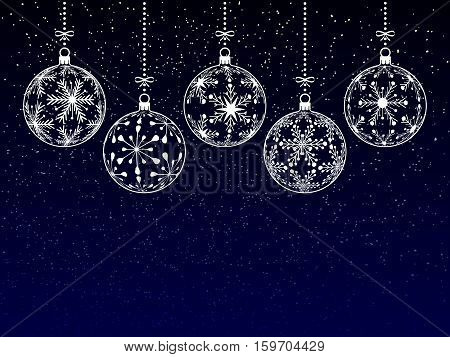 christmas or new year or winter background with blank place for your text on dark background christmas balls with snowflake texture on night sky holiday vector illustration