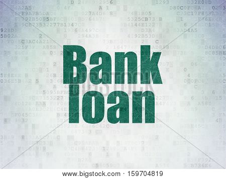 Money concept: Painted green word Bank Loan on Digital Data Paper background