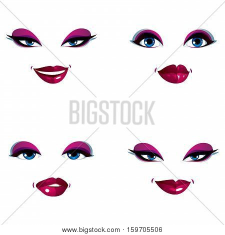 Set Of Vector Beautiful Female Visage With Stylish Makeup, Eyes And Lips. Women Face Features Expres