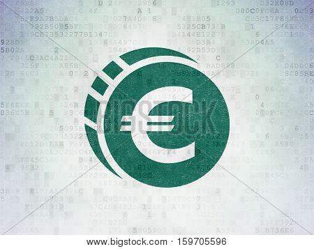 Banking concept: Painted green Euro Coin icon on Digital Data Paper background