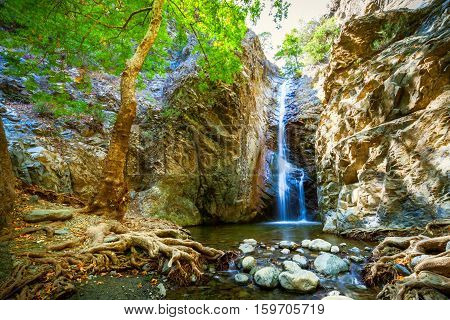 This is Millomeris Waterfalls near Platres in Cyprus.