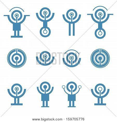 Set of abstract technology icon. Communication logo. Technology futuristic elements.