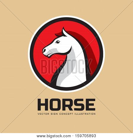 Horse head in circle - vector business logo template concept illustration. Wilde animal creative graphic sign. Design element.
