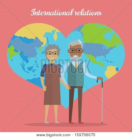 International relations. Travel in old age concept. Elderly couple going on journey. Grandparents with map in form of heart at background. Picture for travel agency ad, recreation retired illustrating