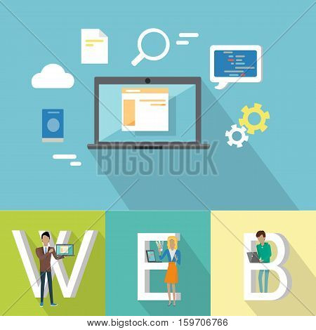 Web design banner. People with laptops standing near letters. Laptop on blue background with design pictograms. Website development project, mobile and desktop website design development process