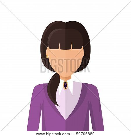 Woman character avatar vector in flat style design. COLOR1 female personage portrait icon. Illustration for identity in Internet, concepts, app pictograms, infographic. Isolated on white background.