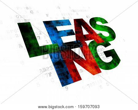 Business concept: Pixelated multicolor text Leasing on Digital background