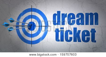 Success finance concept: arrows hitting the center of target, Blue Dream Ticket on wall background, 3D rendering