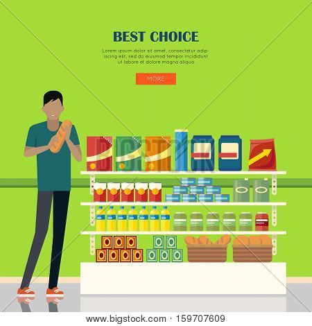 Best choice. Banner for supermarkets and grocery stores. Retail shop for buy product on shelf, purchase and department food. Interior hypermarket section marketplace. Vector illustration