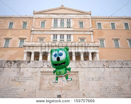 The Greek Parliament With Balloon