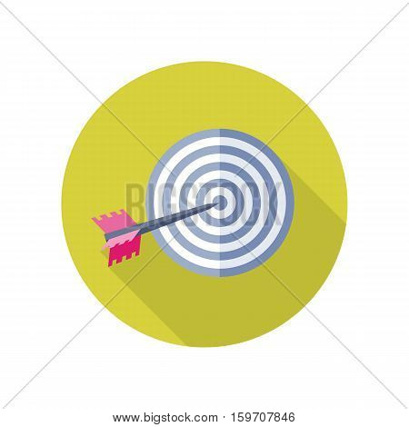 Arrow in target vector icon. Flat style. Targeting, business competition, strategy, sport concept. Illustration for application button pictograms, infogpaphics elements, logo design. Isolated on white