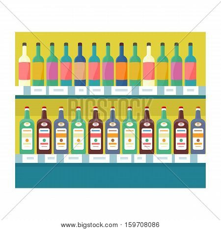 Shelves with drinks in grocery store. Vector in flat style design. Showcase with alcohol and beverages in supermarket.  Assortment, shop equipment, merchandising strategy concept.