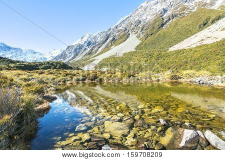 Clear water with mount cook reflection at New Zealand