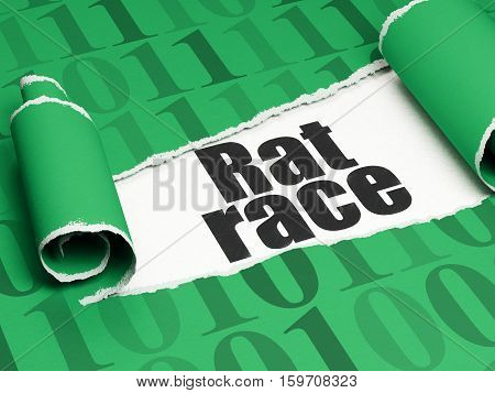 Business concept: black text Rat Race under the curled piece of Green torn paper with  Binary Code, 3D rendering