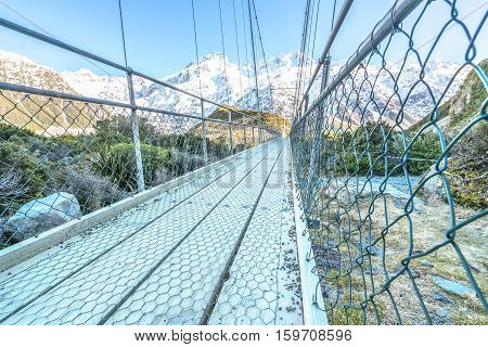 Suspension Bridge over Hooker River Mount Cook National Park Canterbury South Island New Zealand
