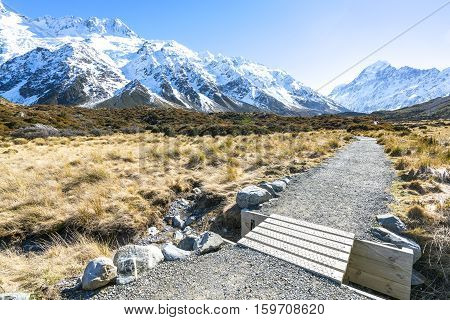 Hooker valley walking trek in Mouth Cook New Zealand