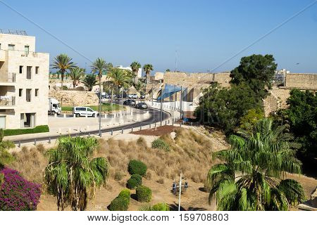 A street in Akko (Acre) Israel. Fortified wall and palm trees in the Old Ciyt of Acre- Israel