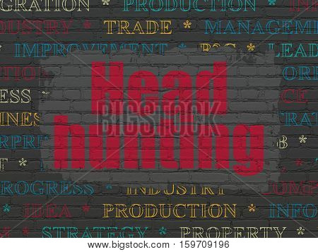 Finance concept: Painted red text Head Hunting on Black Brick wall background with  Tag Cloud
