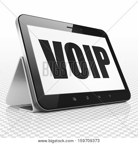 Web development concept: Tablet Computer with black text VOIP on display, 3D rendering