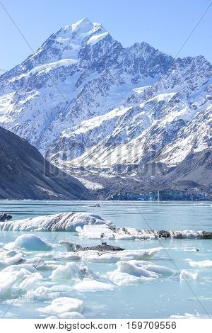Tasman Glacier Lake with giant floating icebergs Aoraki Mount Cook National Park New Zealand.