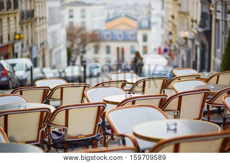 Empty Parisian Outdoor Cafe On Montmartre