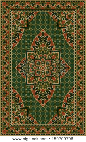 Oriental abstract ornament. Colorful template for carpet cover textile and any surface. Ornamental green pattern with filigree details.