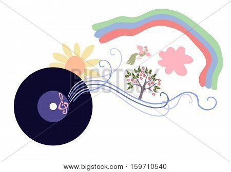 The music is a whole world. Cute cartoon vector illustration.