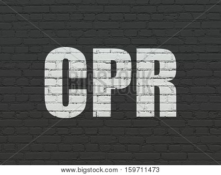 Medicine concept: Painted white text CPR on Black Brick wall background