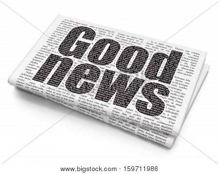 News concept: Pixelated black text Good News on Newspaper background, 3D rendering