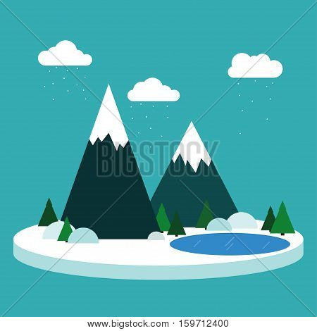 Snowy mountain Vector illustration Winter landscape Blue lake among fir trees and snowy mountains Snowy winter day Flat design