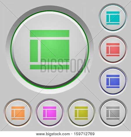 Two columned web layout color icons on sunk push buttons