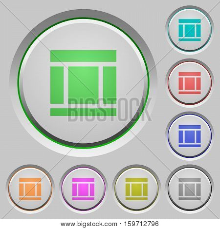 Three columned web layout color icons on sunk push buttons