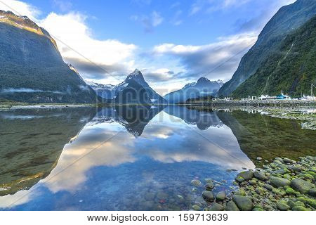 Mirror Lakes along the way to Milford Sound New Zealand