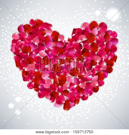 Heart Shape Of Pink, Red  Rose Petals On Gray Background, Vector Illustration Valentine's Day With B