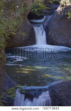 Series of waterfalls known as the Siete Tazas (Seven Cups) in Parque Nacional Radal Siete Tazas in Maule, Chile.