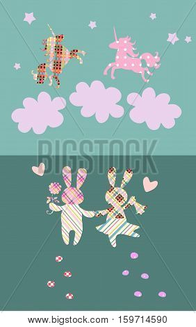 Wedding invitation with cute rabbits and unicorns in the clouds. Patchwork. Vector illustration.