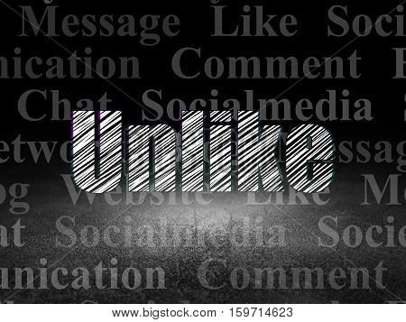 Social media concept: Glowing text Unlike in grunge dark room with Dirty Floor, black background with  Tag Cloud