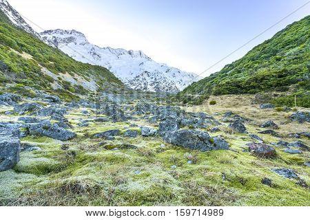 Nature mountain rock at mount cook, new zealand
