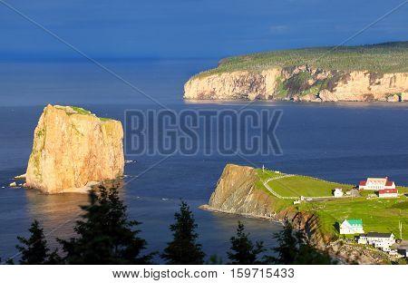 Perce Rock and Bonaventure Island - Quebec, Canada. In beautiful Evening Light