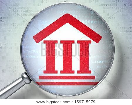 Law concept: magnifying optical glass with Courthouse icon on digital background, 3D rendering