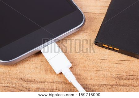 Mobile Phone, Plug Of Charger And Telephone Battery, Smartphone Charging