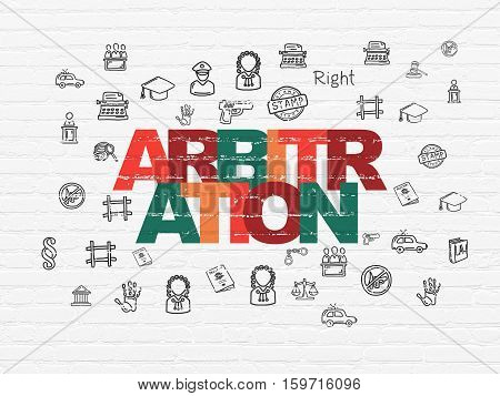 Law concept: Painted multicolor text Arbitration on White Brick wall background with  Hand Drawn Law Icons